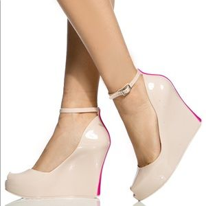 Bamboo Nude Jovial Jelly Ankle Strap Wedges